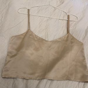Reformation Gold Silk Cropped Tank Size XS
